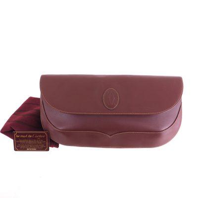 Vintage Cartier Burgundy Red Must De Cartier Large Clutch Bag