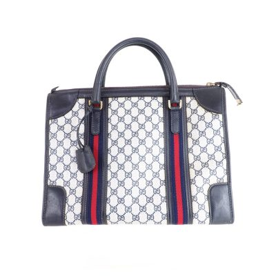 Vintage Gucci Double Line Monogram Square Speedy  Hand Bag