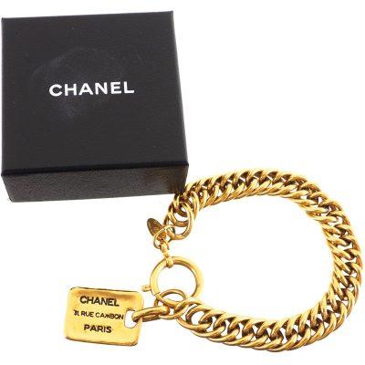 Vintage Chanel Nametag Excellent Chain Cambon  Bracelet
