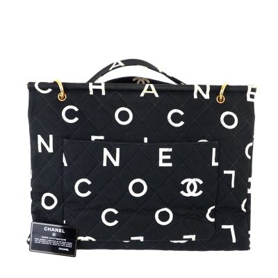 Vintage Chanel Large Monogram COCO Print Tote Hand Bag