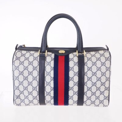 Vintage Gucci Excellent Condition Blue Red Monogram Speedy Hand Bag