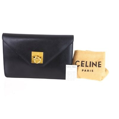 Vintage Celine Envelope Black Leather  Clutch Bag