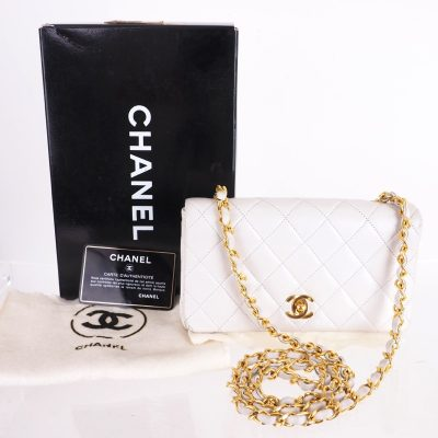 Vintage Chanel White Lambskin Quilted Gold Long Chain Shoulder Bag