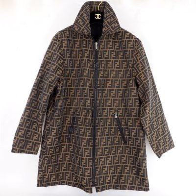 Vintage Fendi Zucca Monogram Canvas Unisex Reversible Coat Jacket