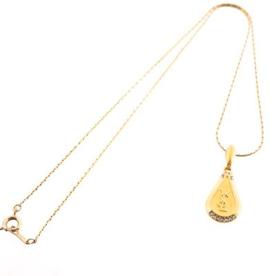 Vintage Yves Saint Laurent YSL Teardrop Rhinestone NEW Necklace