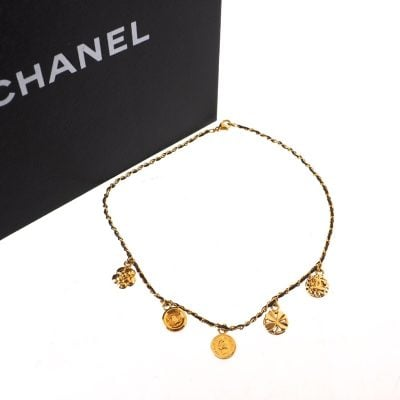 Vintage Chanel NIB Leather Metal Chain Camellia  Necklace