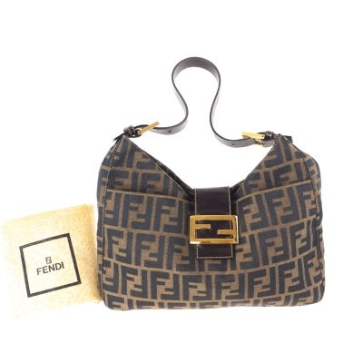 Vintage Fendi Zucca Monogram Excellent Gold  Hand Bag