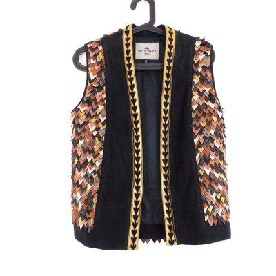 Vintage  ETRO Size 42 M/L Leather Vest Jacket