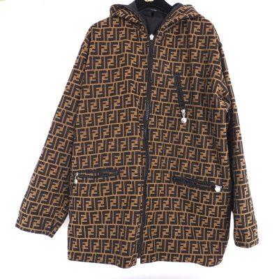 Vintage Fendi Zucca Reversible Hooded Large Unisex Coat Jacket