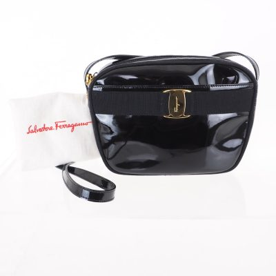 Vintage Salvatore Ferragamo Vara Patent Leather Black Gold Shoulder Bag