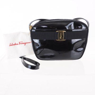 Vintage Salvatore Ferragamo Vara Patent Leather Black Gold Shoulder Bag