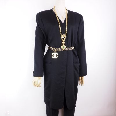 Vintage Gucci 100% Black Cashmere Long Jacket Coat