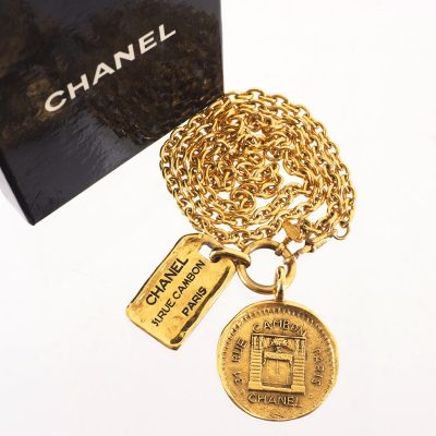 Vintage Chanel Rare Double Charm Nametag Long Chain Necklace