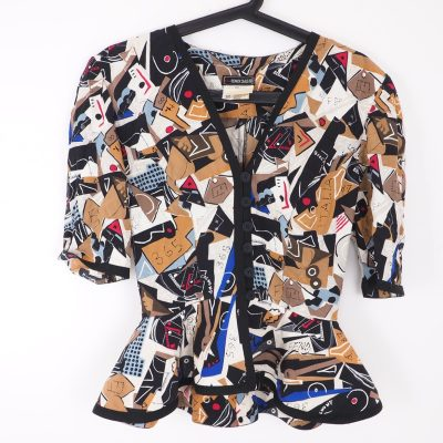 Vintage Fendi Silk Multi Print Size 40 Peplum Button Shirt