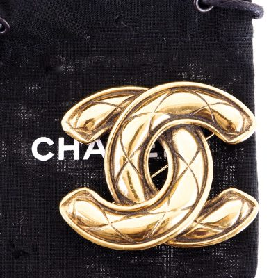Vintage Chanel Large Sized Gold Plated Quilted Pin Brooch
