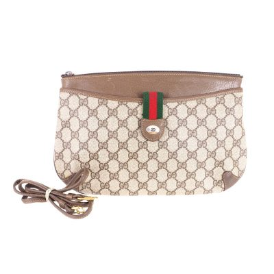Vintage Gucci 2way Clutch Spaghetti Strap Monogram Shoulder Bag