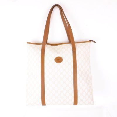 Vintage Gucci Ivory Beige Monogram Rare  Hand Bag