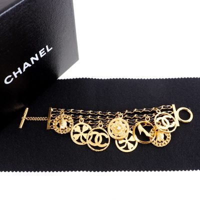 Vintage Chanel Eight Signature Dangle Charm Chain  Bracelet