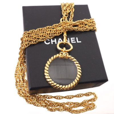Vintage Chanel NIB Excellent Double Chain Loupe Necklace