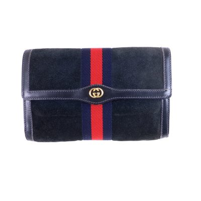 Vintage Gucci Blue Red Suede M Size Clutch Bag