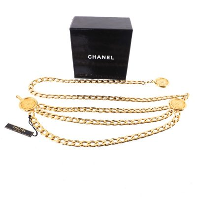 Vintage Chanel NWT Triple Chain Long Chain Necklace  Belt