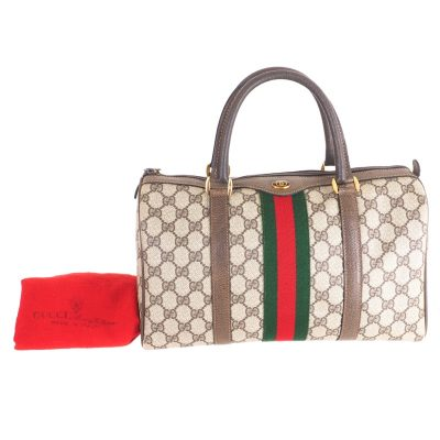 Vintage Gucci Monogram Speedy Red Green Signature Hand Bag