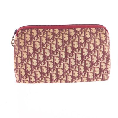 Vintage Christian Dior Burgundy Red Monogram Canvas Long Clutch Bag