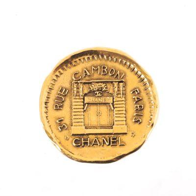 Vintage Chanel 31 Rue Cambon Round Medallion Brooch