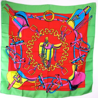 Vintage Celine New Excellent Large Colorful Silk  Scarf