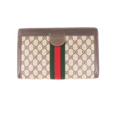 Vintage Gucci Excellent New Large Brown Red Clutch Bag