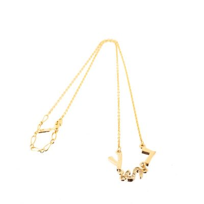 Vintage Yves Saint Laurent YSL Rhinestone Gold Chain Excellent NEW Necklace