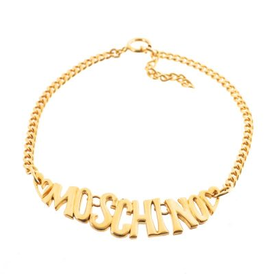 Vintage Moschino Large Gold Heart Choker Necklace