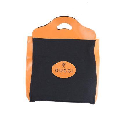 Vintage Gucci Felt Shopper Rare Tan Black Clutch Hand Bag