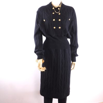 Vintage Celine 100% Pure Wool 44 L Knit Dress