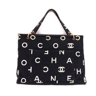 Vintage Chanel COCO Logo Print Black White Large Tote Hand Bag