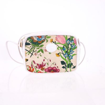 Vintage Gucci Floral Flower Bug Print Box Shoulder Bag