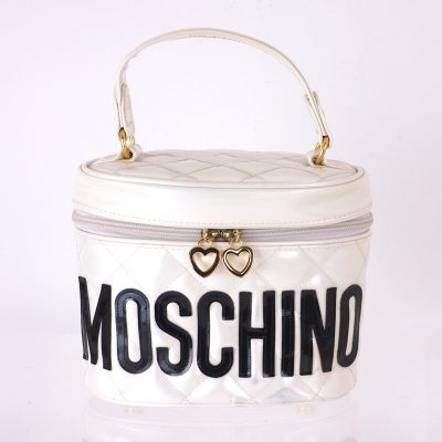 Vintage Moschino White Black Large Vanity Mirror Case Hand Bag