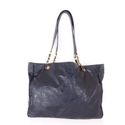 Vintage Chanel Large Logo Chain Black Square Hand Bag