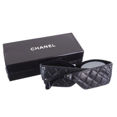 Vintage Chanel Wide Quilted Leather 1987 Rare Sunglasses