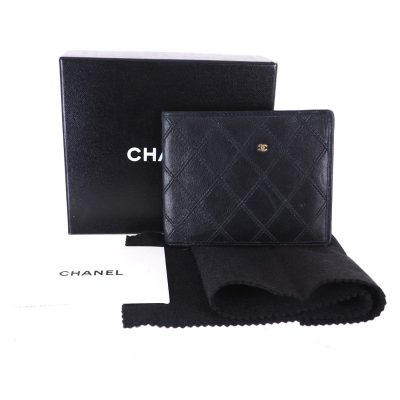 Vintage Chanel Quilted Bi Fold Black Leather Wallet