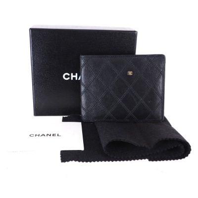 Vintage Chanel Quilted Bi Fold Black Leather Wallet