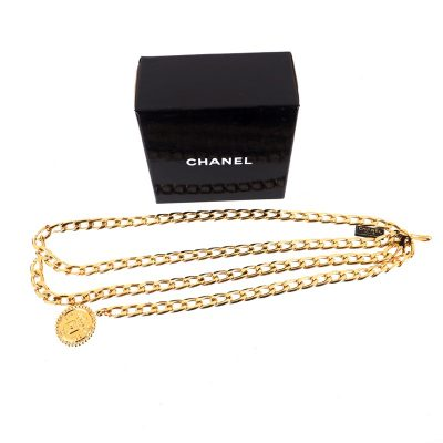 Vintage Chanel NWT Double Gold Chain Choker Necklace Belt