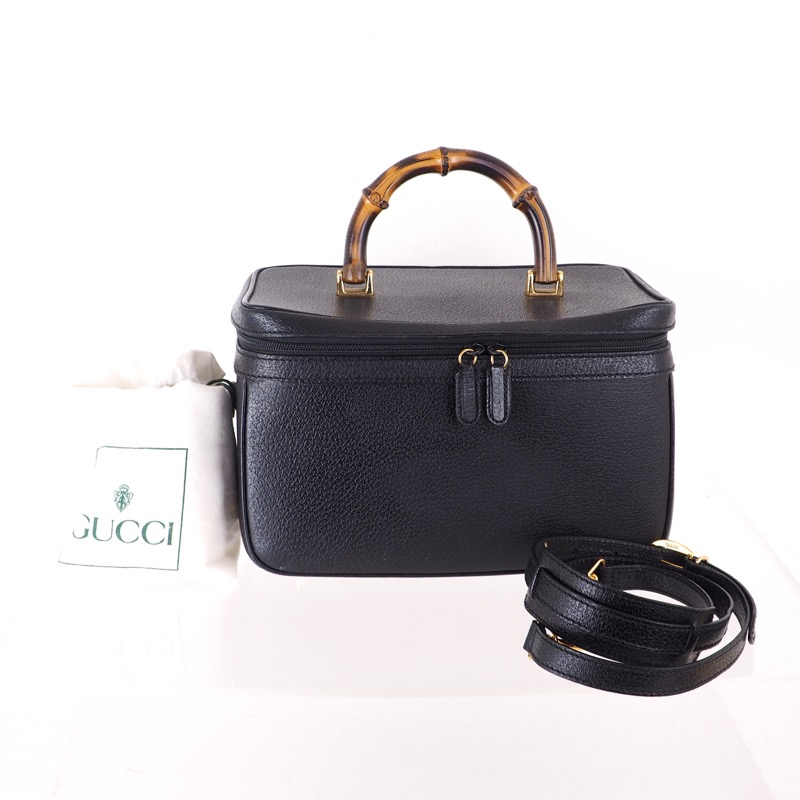 021d1a16f Vintage Gucci Bamboo Large Vanity Case 2way Mirror Hand Bag ...