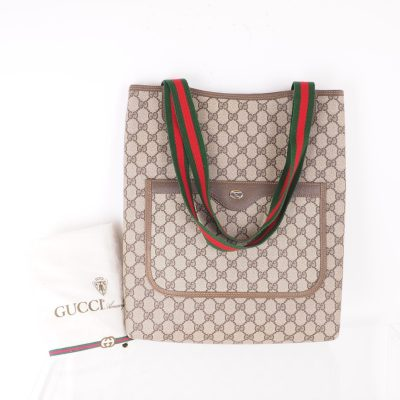 Vintage Gucci Excellent Large Tote Canvas Ribbon Hand Bag