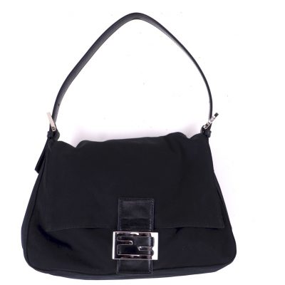 Vintage Fendi Black Jersey Mamma Baguette Excellent Hand Bag