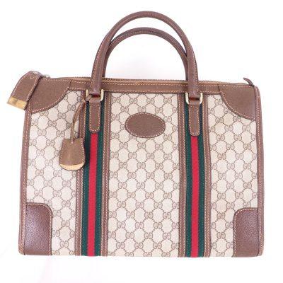 Vintage Gucci Excellent Rare Large Double Line Monogram Hand Bag