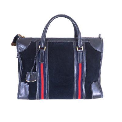 Vintage Gucci Blue Suede Leather Double Line Rare Hand Bag