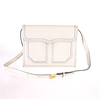 Vintage Yves Saint Laurent YSL White Leather Clutch  Shoulder Bag