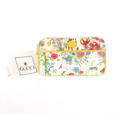 Vintage Gucci Rare Floral Yellow Leather Large  Clutch Bag