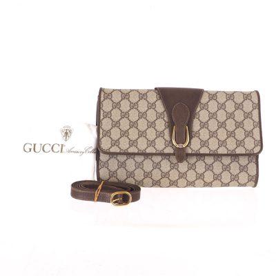 Vintage Gucci Excellent Monogram Clutch Strap Shoulder Bag